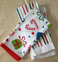 cotton silk printed tea towel with christmas design printing in home textiles 2015 china wholesale