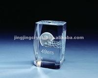 3D Laser Engraved Crystal Glass Irregular shaped block