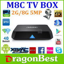 New product arrive Android 4.4 M8C Quad Core 2G 8G 4K TV Box with 5.0MP Camera Upgrade M8 TV Box