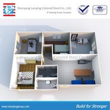 3 bedrooms living room sandwich panel steel prefab house