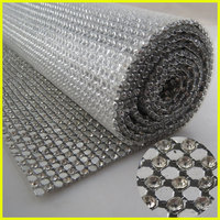 3mm Aluminum Base & Glass Crystal Material & 45*120cm Hot Fix Rhinestone Rolls Trim Mesh For Garment Decoration