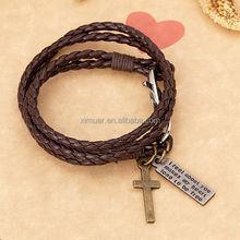 Custom design fashion mens genuine leather bracelet jewelry