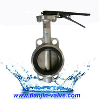 stainless steel hand lever operated teflon lined butterfly valve