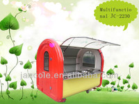 New arrival! 2014 New style JC-2230 CE approved stainless steel+metal material mobile snack sale food cart/dinner car/snack car