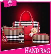 Hot sale fashion plaid High quality private label China boston bag leather brand handbags luxury designer handbag for women/lady