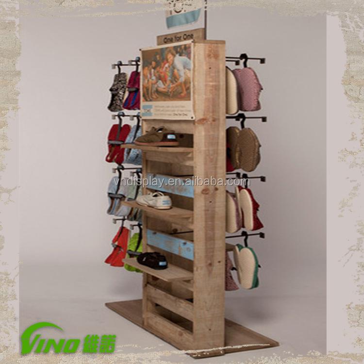 Novo estilo de sapato de madeira r stica rack exposi o da loja prateleiras com ganchos de metal - Zapatero rustico ...
