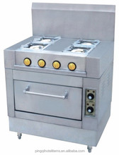 kitchen equipments 4-burner gas range with electric oven