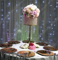 Golden Hanging Crystal Lead Road Flower Stand For Wedding decoration