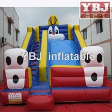 2015 classic rabbit inflatable slide yellow red blue color