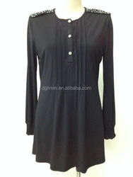 pleated 3 button placket front beaded shoulder design black cotton blouse