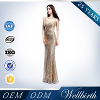 2015 Pakistan Customize Golden Sequin Alibaba New Lady Fashion Dress