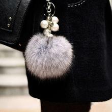Fashion promotion plush toy keychain fur tail keyring rabbit fur key ring