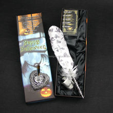 Luxury Halloween gift item feather dip pen with base set
