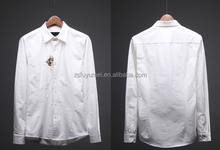 solid color/ long sleeve comfort casual couple shirt/ embroidered kitty casual shirt/latest design men shirts of 2015