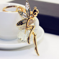 Exquisite Crystal angel wings keychain wholesale