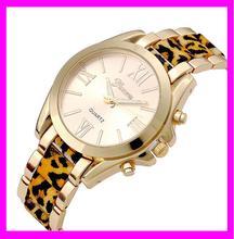 KD5108 Wholesale fashion stainless steel back Leopard geneva watch woman