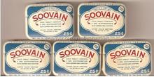 WHOLESALE DEALERS LOT OF 5 1950's SOOVAIN ASPIRIN TINS NEW OLD UNUSED STOCK