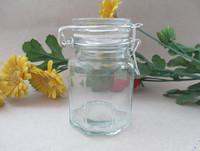 clear round glass spice jar with clip lid,glass honey jar ,glass jam jar