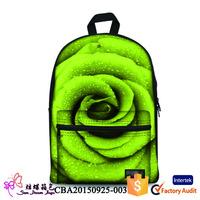 2015 hot wholesale custom 3D 600D sport nylon waterproof high school backpack bag for girl
