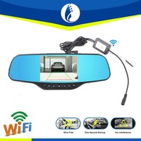Wireless car rearview mirror, 5inch WiFI car dvr dash camera rearview mirror