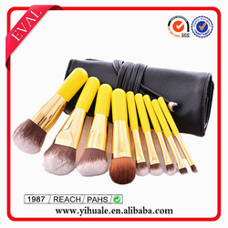Synthetic hair yellow assorted makeup brush set