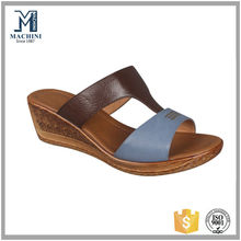 Fashion genuine leather lady flat wedge sandals and sleepers