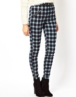 Girls sex photos in skinny plaid trousers with zippers