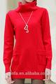 novo design manter quente de manga comprida de cor vermelha senhoras blusas de algodão