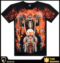 European and American avant-garde fashion 3 d skull flame design T-shirt soul chariot rock t-shirts wholesale and custom