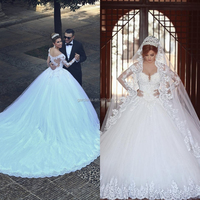 Luxury Sweetheart Chapel Train Bridal Gowns Lace Applique Long Sleeve Ball Gown Beautiful Pakistani Wedding Dresses(MAW0053)