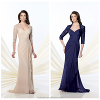 fashion design long lace sexy evening dress for mature woman