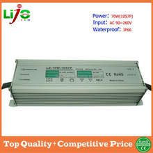 CE RoHS 70W(10S7P) AC90~260V 2100mA custant current led driver for outdoor led lamps IP66 waterproof 3year warranty