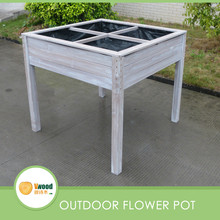 Outdoor wooden flower pot planter with high support