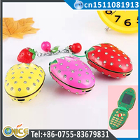 N18 2016 latest design mobile phone flip dual sim worlds smallest mobile phone Strawberry shape cute phone good gift for girls