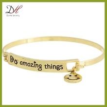 Daihe BC345 engraved bracelets wholesale,DO AMAZING THINGS,gold hook bracelet bangle