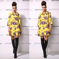 2015 Latest Branded Noble Style Flower Print Plus Size XXXXL Quality Top Fashion Winter Coat For Women Wholesale