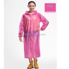 Pearlized BOPP non-disposable Women girls Pink Rain Coat Raincoat