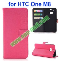 New Arrival Litchi Texture Flip Stand Leather Case Cover for HTC One M8