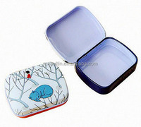 Mini cute hinged lid tin box