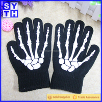 Acrylic knitted neon color gloves