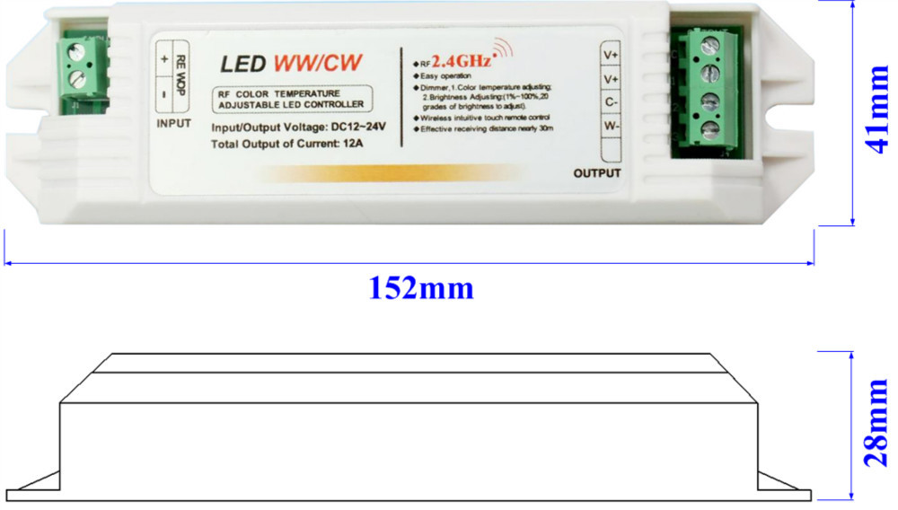 2.4G 4 zone touch color temperature controller
