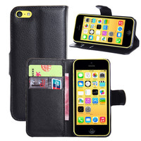 PU Leather flip wallet case cover for iphone 5c