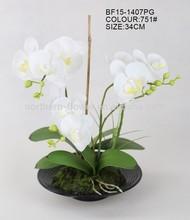 Atacado branco orquídeas artificiais com potes