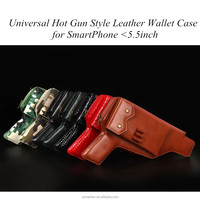 Gun stylish protective leather wallet case less than 5.5inch phone/classic gun holster pu bag coque zipper case for smartphone