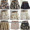 europa mujeres señoras estilo plisado gasa impresión faldas pantalones cortos pantalones venta al por mayor mini falda