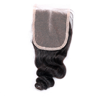 4x4 Inch Virgin Brazilian Hair with Closure , Loose Wave Middle Part Top Lace Closure