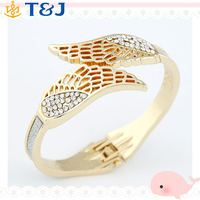 2015 Latest design Jewelry Shiny Rhinestone Angel Wing bracelets bangles Punk Mental Cuff Bangles for Women/