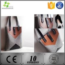 New Products 2015 Women/Lady Wool Felt Genuine Leather Tote Bag Shoulder Bag