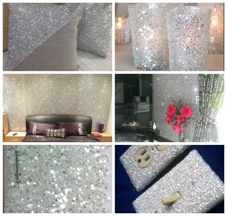 54 de largura diamante branco de prata brilho - Pintura pared purpurina ...