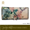 Fashion flower printing women wallet with snap fastener